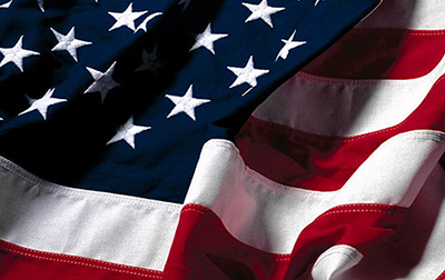 Close-up image of American flag.